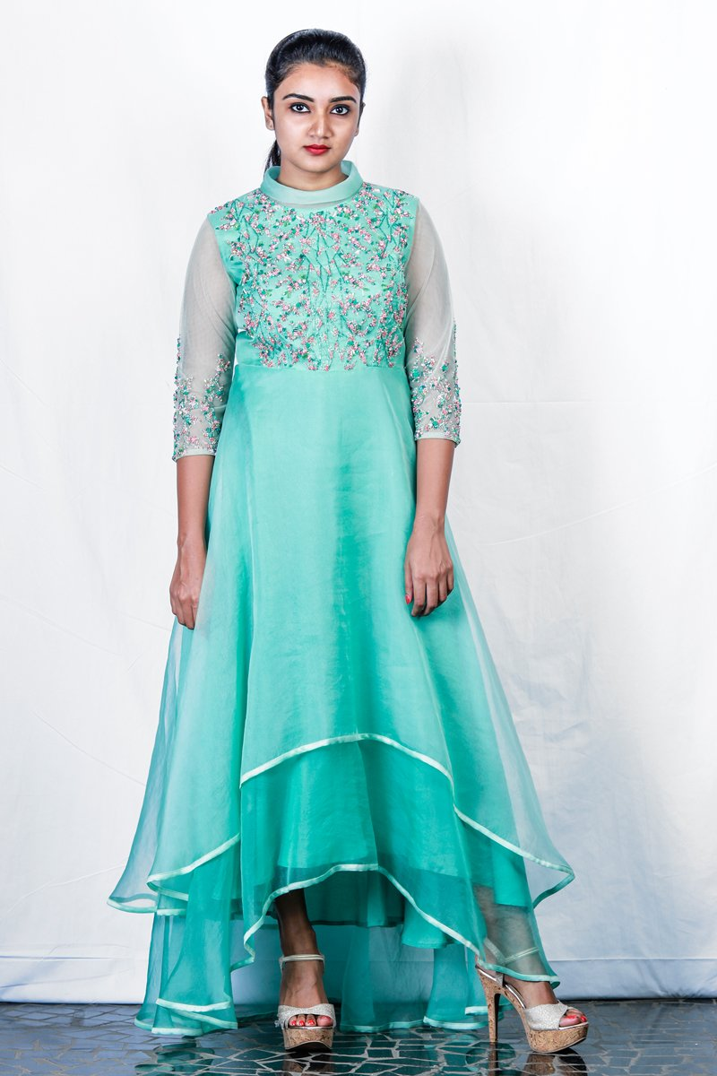 Green Crystal And Gem Embroidered Shaded Layered High-Low Gown