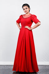 Red Double Georgette Box-pleated Gown