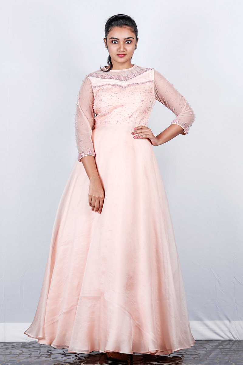 Peach Embroidered Organza Gown