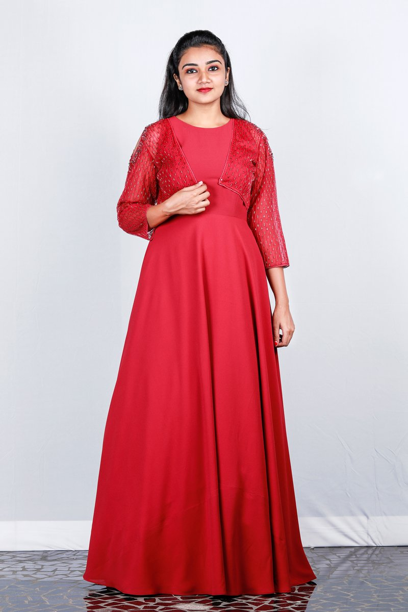 Indian- Red Double Georget Sleeveless Gown And Shrug