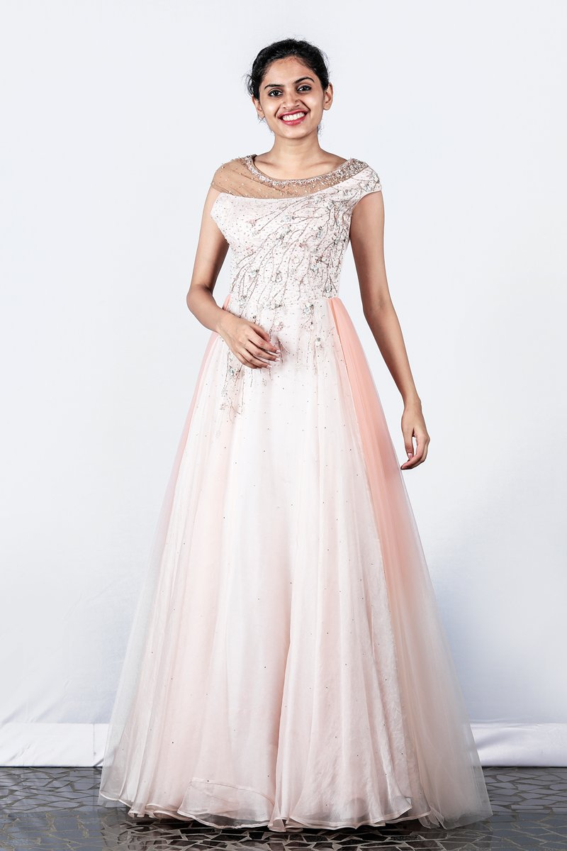 Paris Peach Floral Embellished Organza- Net Gown