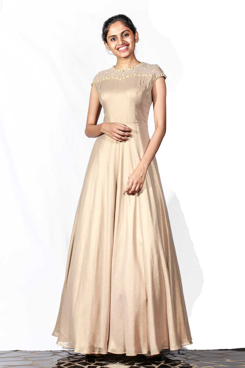 Dull Golden Shimmer Georgette Gown With Crystals, Beads And Stone Embroidery