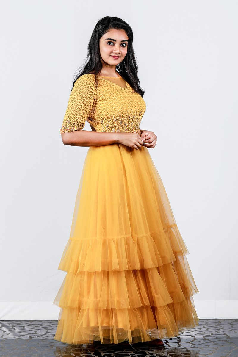 Paris Yellow Net Layered Gown