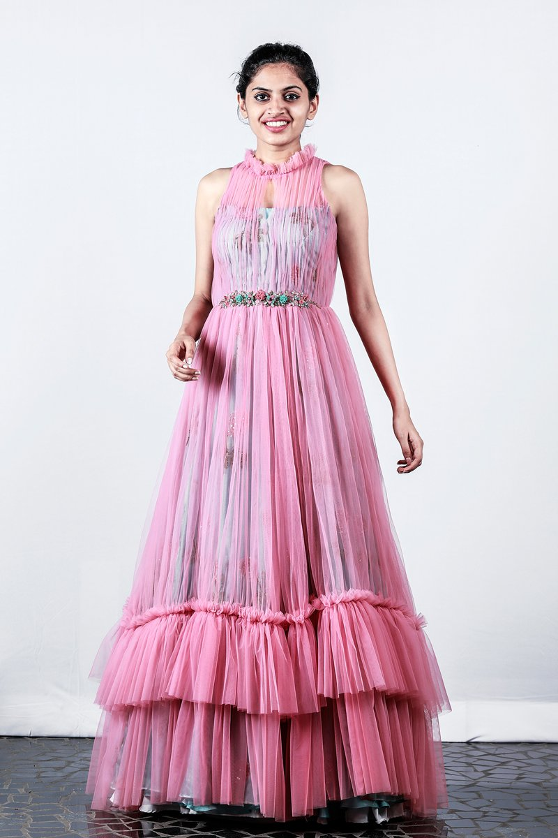 Pink Net Gathered Gown With Printed Organza Underneath