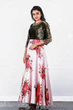 Paris Greenish Brown Velvet And Printed Pink Crape Gown