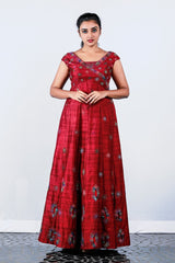 Maroon Rawsilk Embroidered Panel Gown