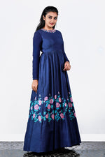 Dark Blue Floral Painted Tusser Silk Gown