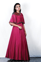 Burnt Red Crape Silk Embroidered Cape Gown