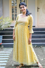 PARIS YELLOW PRINTED GEORGETTE KURTI