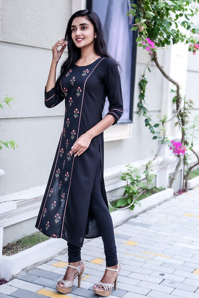 Paris Black Rayon & Printed Cotton Kurtha