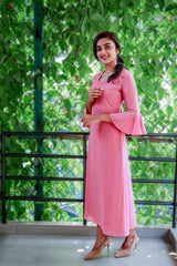 Paris Pink Flared Kurthi