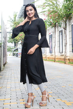 Paris Black Rayon Pleated Yoke Kurtha