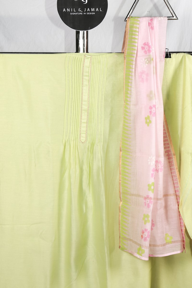 Lime Green Pin-tuck Pleated And Embroidered Chanderi Salwar Material With Pink Printed Chanderi Duppatta