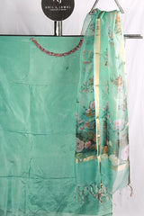Aqua Blue Upada Silk Embroidered Salwar Material With Printed Organza Duppatta