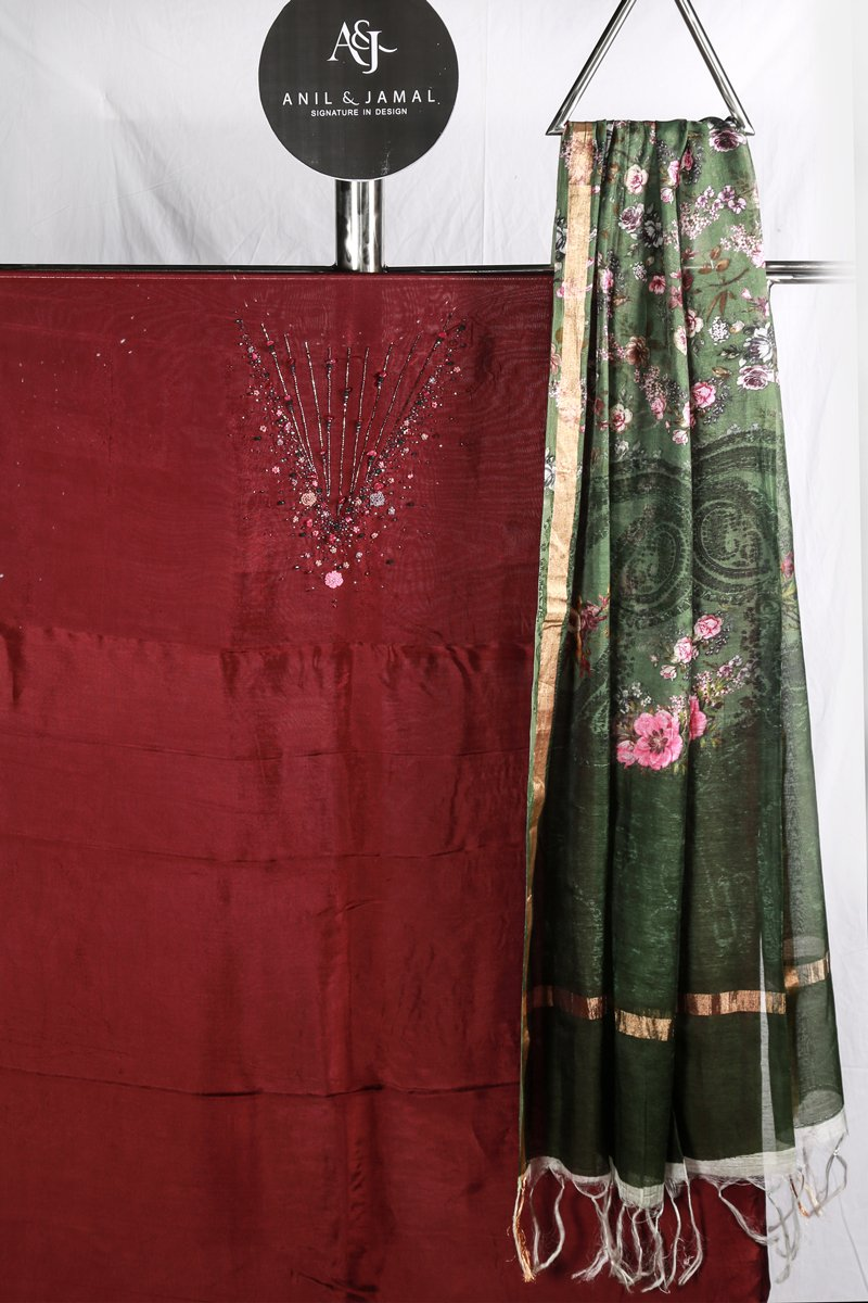 Deep Maroon Embroidered Upada Silk Salwar  Material With Printed Chanderi Duppatta.