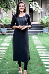 Paris Black Double Georgette- Tusser Striped Kurthi