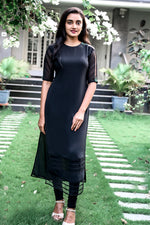 Paris Black Georgette Kurthi With Net Pattern