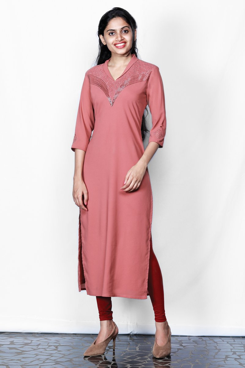Dull Brick Red Embroidered Georgette Kurti