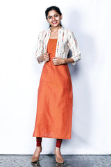 Double Tone Yellow-orange Cotton Kurti With Cream Ikkat Shrug