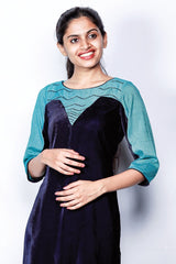 Deep Blue Velvet Kurti With Embroidered Printed Yoke