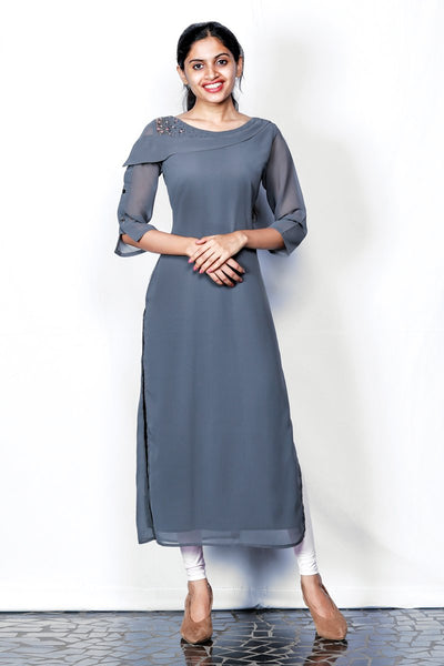 Grey Embroidered Georgette Kurti With Flap Overlapping