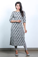 Paris Grey-Black ikkat kurtha