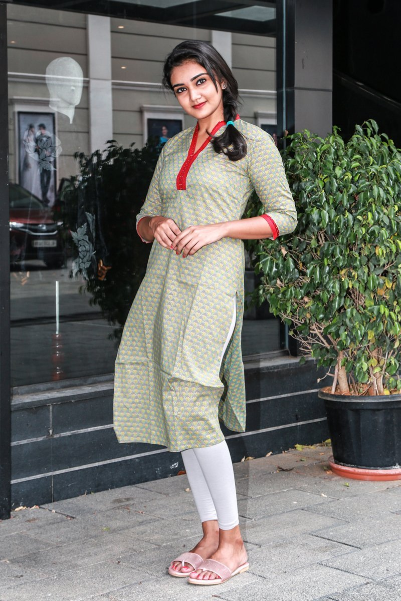 Ash-green Printed Cotton Kurti
