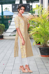 Ash-yellow Subtly Embroidered Printed Cotton Kurti