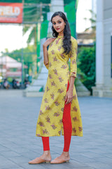 PARIS FLORAL PRINTED PEACH/YELLOW COTTON KURTI