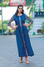 Paris A-Line Flaired Navy Blue Kurtha