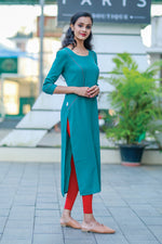 Paris Teal Double Georgette Kurtha