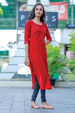 Paris Maroon Double Georgette Kurti