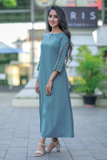 Paris Blue Thick Georgette Kurti With Bows