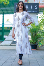 Paris Milky White Printed Cotton Kurti