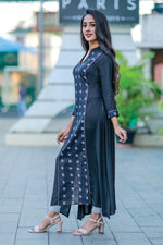 Paris Black Kurtha With Ikkath Panels