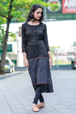 PARIS BLACK RAYON & PRINTED COTTON PATTERNED KURTI