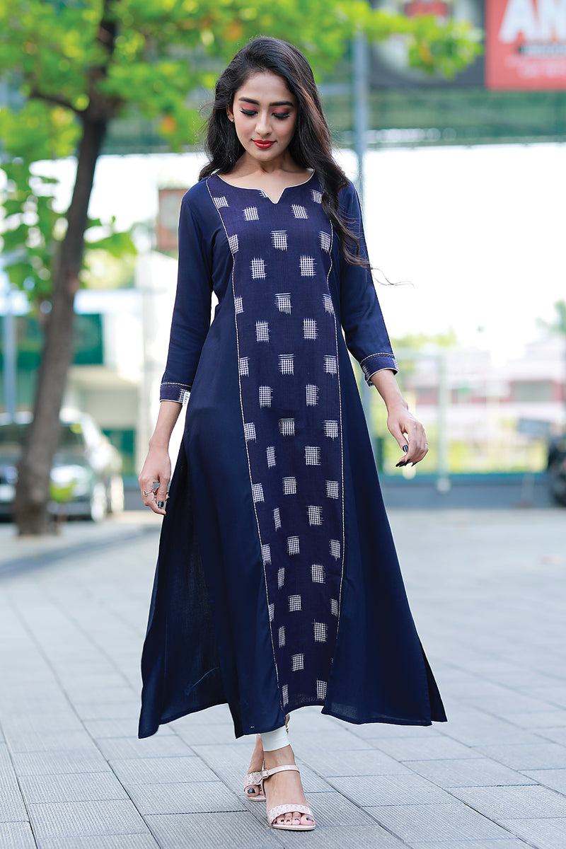Paris Navy Blue Kurtha With Ikkath Panels