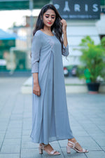 Paris Overlapped Flared Kurti - Grey