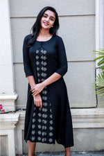 Black rayon panelled flared  kurtI with inbuilt ikath patterning