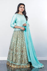 Paris Light Tiffany Blue Antique Worked Lehenga