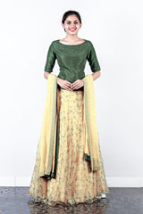 Dark Green Dupion Silk And Printed Organza Lehenga With Georgette Duppatta