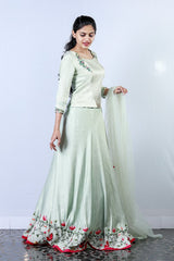 Pale Gree Linen Satin Embroidered Lehenga