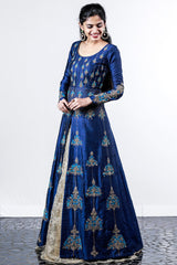 Paris Navy Blue Embroidered Arabic Lehenga With Golden Cream Skirt