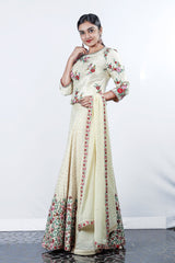 Paris Golden Cream Floral Embroidered Rawsilk Lehenga With Georgette Duppatta