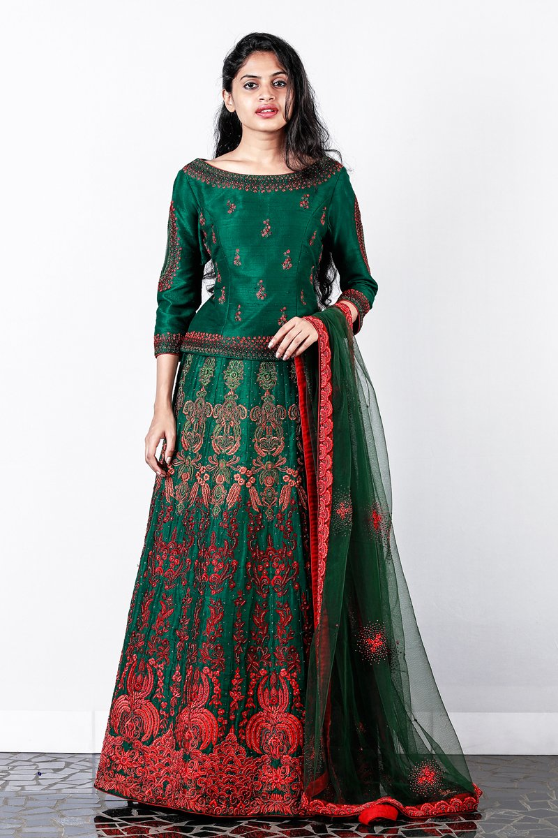 Green Embroidered Rawsilk Lehenga