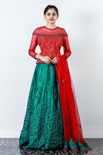 Red Green Embroidered Rawsilk Lehenga