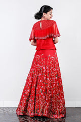 Red Thread Embroidered Rawsilk Skirt -top