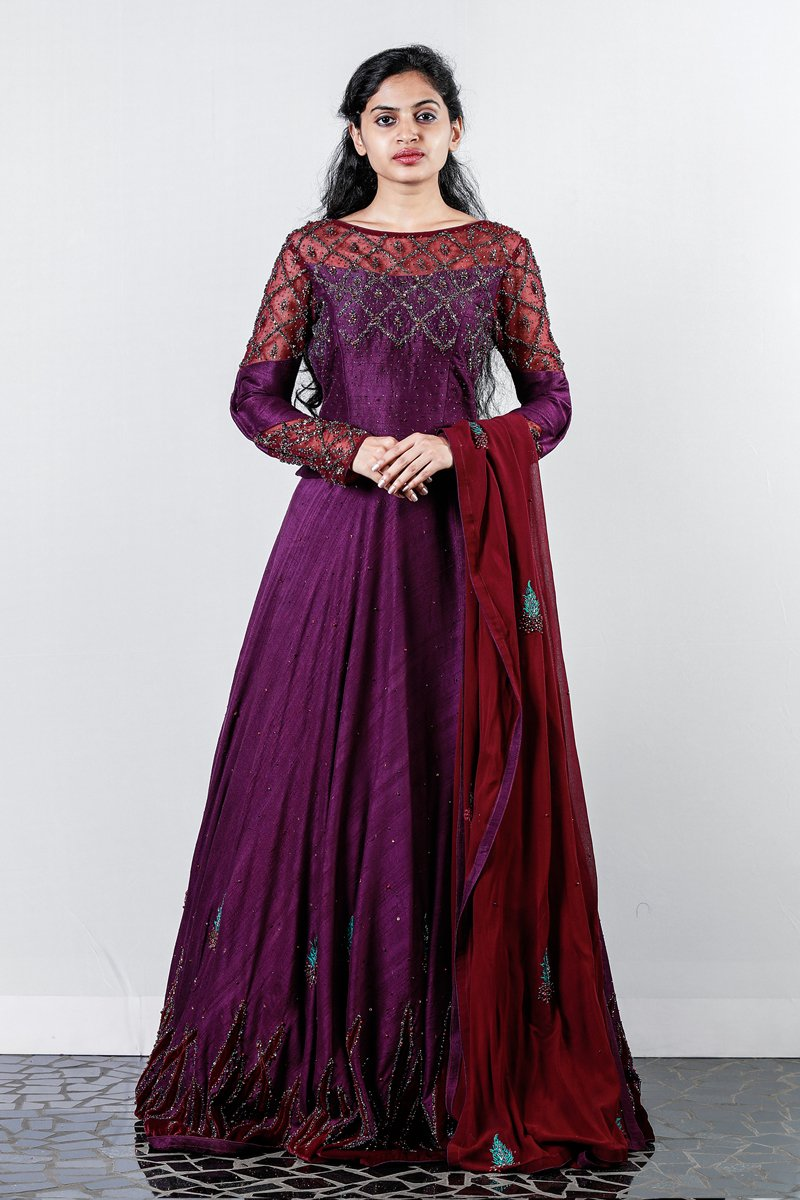 Purple Embroidered And Appliqued Rawsilk Lehenga