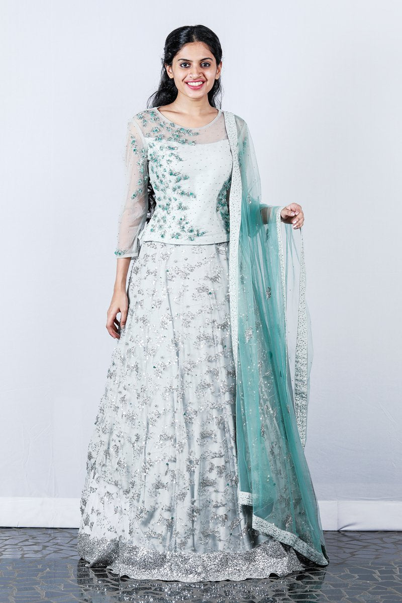Light Grey Embroidered Lehenga
