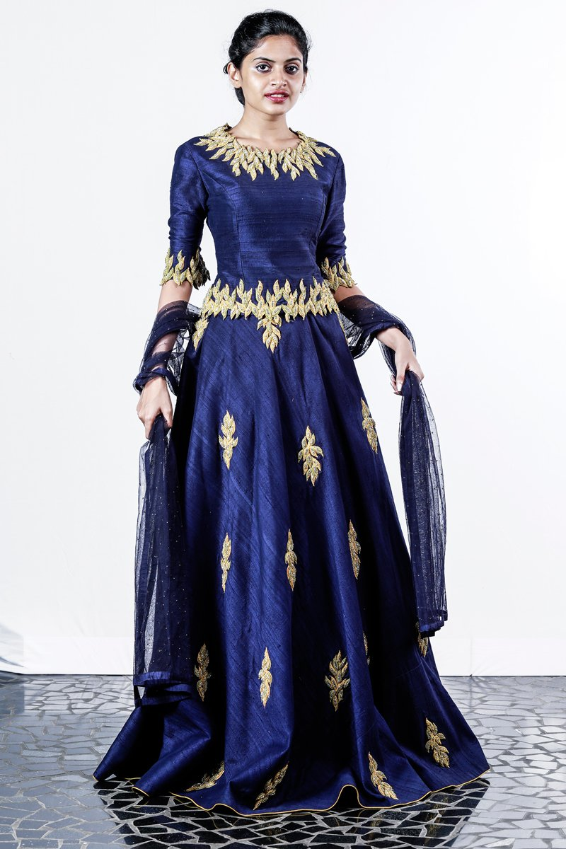 Paris Navy Blue Raw Silk Embroidered Lehenga
